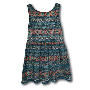 Xhiliration Boho Sun Dress Ethnic Pattern XL